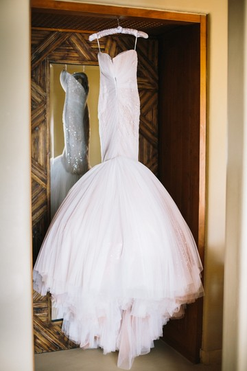 Mark Zunino White and Nude Tulle Sexy Wedding Dress Size 6 (S)