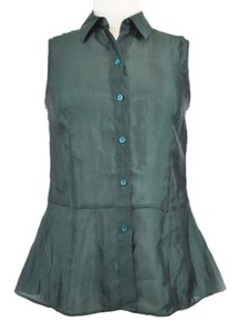 Theory Sheen Sleeveless Peplum Top Green