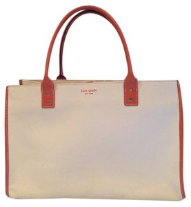Kate Spade Tote in Off White Canvas / Bright Orange Leather Detail