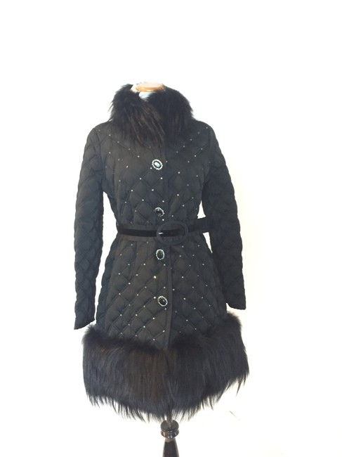 Item - Black Quilted Puffer Fur Coat Size 6 (S)