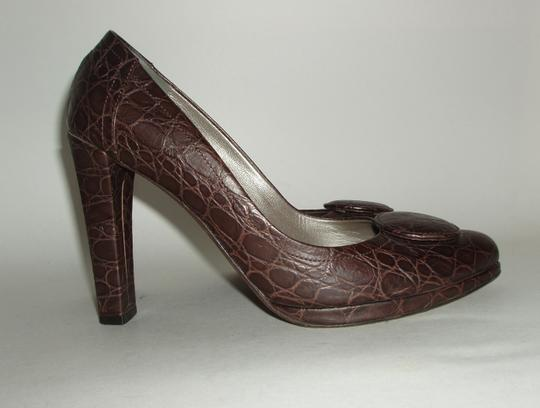 Furla Italy Italian High Heels Croc Croc Embossed Embossed Brown Pumps