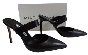 Manolo Blahnik Mule Slip On Point Toe BLACK Mules