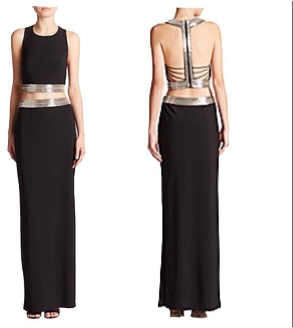 Item - Black/Silver Jersey Two-piece Gown Long Formal Dress Size 2 (XS)