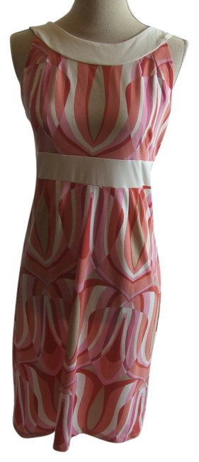 Item - Pink/White Aqmu3265 Knee Length Short Casual Dress Size 6 (S)