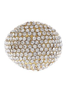 t + j Designs NEW - 18k Gold Czech Crystal Pave Bubble Cocktail Ring