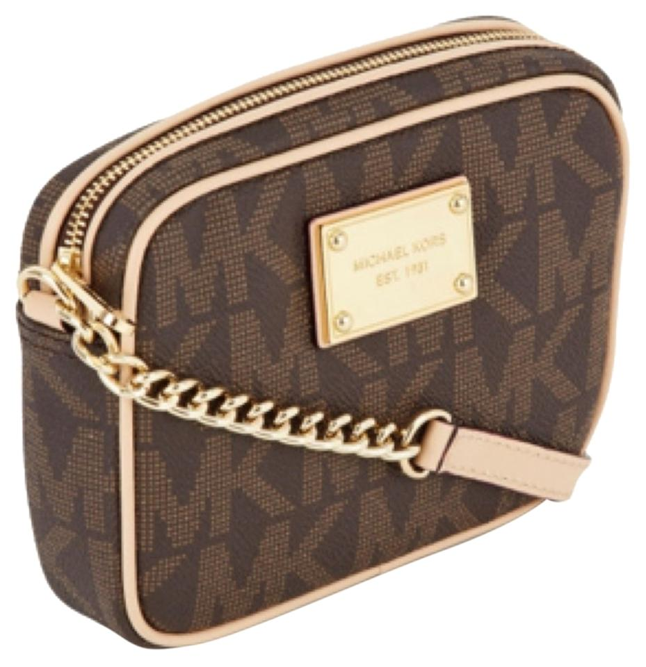 MICHAEL Michael Kors Jet Set Monogram Brown Cross Body Bag - Tradesy d9d2d8cf19f26