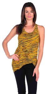 Torn by Ronny Kobo Animal Print Racer-back Striped Zebra Tee Bright Asymmetrical Hem Scoop Neck Top Yellow