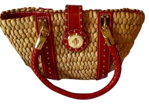 Michael by Michael Kors Tote in Tan with a Red Leather