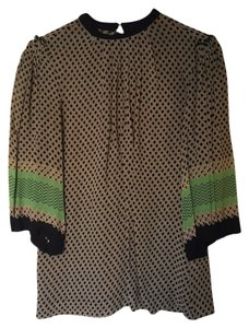 Topshop Tribal Print Tunic Style Top Black, Cream, Green and Orange