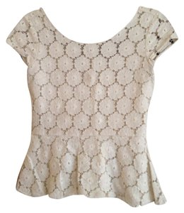 Target Peplum Floral Lace Floral Lace Scoop Back Top White