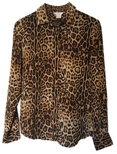 Joe Fresh Silk Top Leopard Print