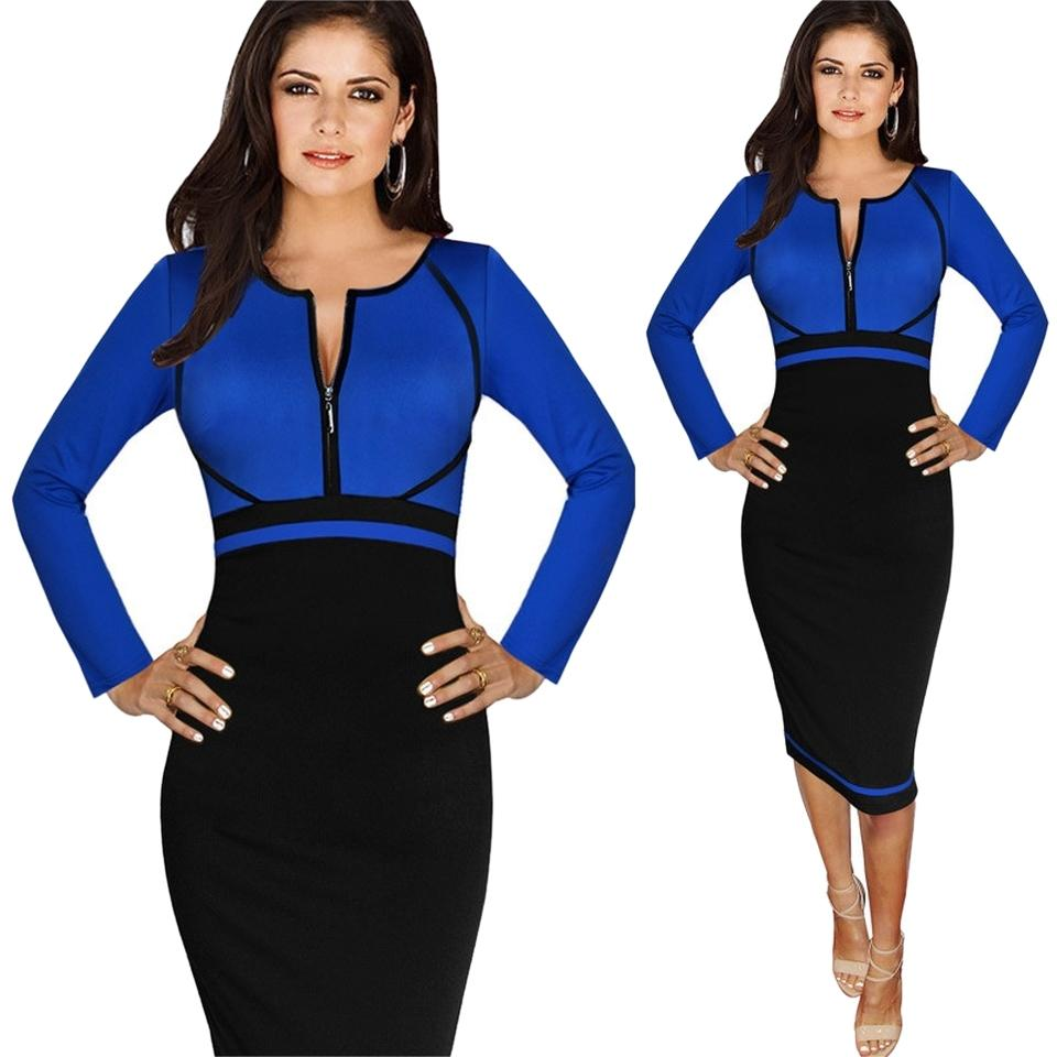 VfEmage Women Elegant Colorblock Front Zipper Wear Business Causal Office  Party Dress 12eaf6048180