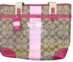 Coach Heritage Purse Strip Monogram Women's Tote in pink