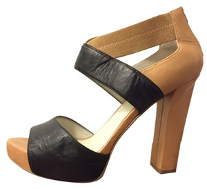 Nine West Chunky Heel Leather Zip Back Black and tan Pumps