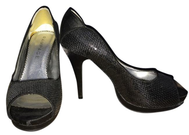 Item - Black Satin Heels Formal Shoes Size US 7.5