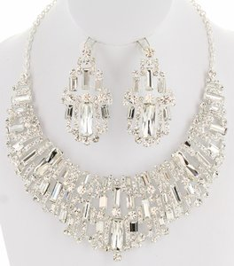 Crystal Baguette Necklace And Earring Set