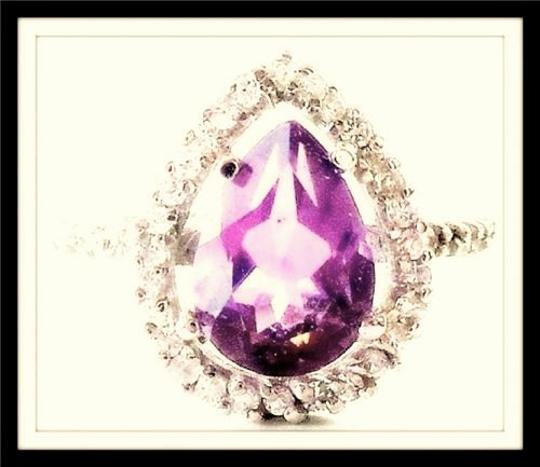 Other Pear Faceted 2.00 Genuine Natural Amethyst & Zircon Cocktail Ring 7