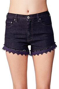 Free People Cutoff Lace Crochet Denim Cut Off Shorts Washed Black