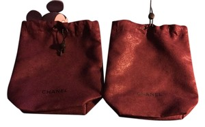Chanel Lot Of 2x Chanel 7x8 Burgundy Micro Suede Sliding Drawstring Dust Storage Bags