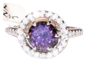 Other 2.00 Genuine Natural Amethyst & Zircon 925 Sterling Silver 14k Cocktail Ring 7.5