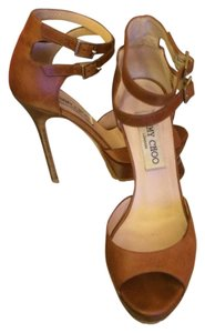 Jimmy Choo Platform Brown Strappy Luggage Brown Pumps