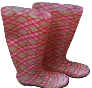 143 girl Pink Clear And Green Boots
