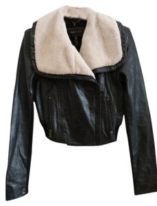 BCBGMAXAZRIA Leather Shearling Leather Jacket
