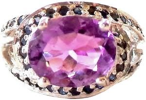 Other Large 4.40ctw Oval Faceted Amethyst & Sapphire Silver 14k Ring 6.5