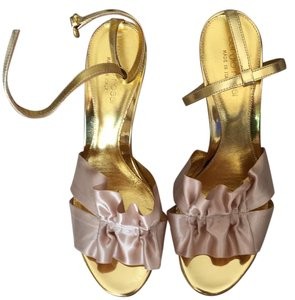Sergio Rossi Satin gold Sandals