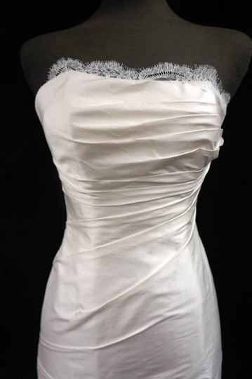 "Ines Di Santo Ivory Dupioni Silk ""Alba"" Gown with Chantilly Lace and Rouched Bodice Wedding Dress Size 10 (M)"