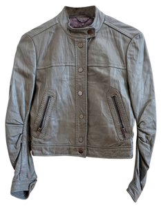 BCBGMAXAZRIA Moto Motorcycle Biker Leather Grey (Lead) Leather Jacket