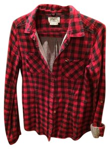 OBEY Plaid Button Down Shirt RED AND NAVY