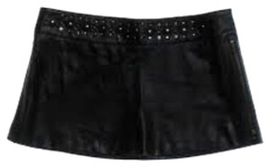 bebe Leather Embellished Ultra Mini Mini Skirt Black
