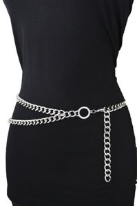 Other Women Fashion Belt Hip High Waist Silver Metal Thick Chain Chunky Links