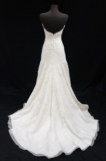 Liancarlo Ivory Silk Organza/Lace Alencon Trumpet Wedding Dress Size 8 (M)