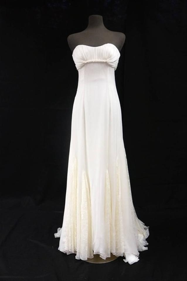 4592c2bedbb Ivory Silk Organza Alencon Lace Organza Alencon Sheath Gown Wedding Dress