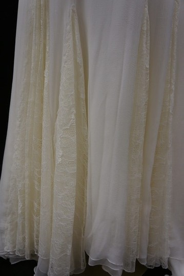 "Ivory Silk Organza/Alencon Lace ""Caricia"" Wedding Dress Size 8 (M)"
