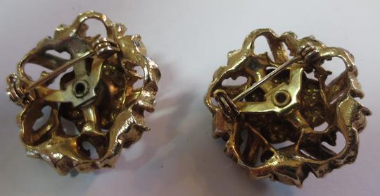 Unknown Pair of Vintage Gold Tone Brooches with Pearl and Aqua Accents