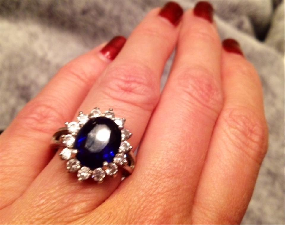 Deep Blue/Silver Kate Middleton Engagement Oval Sapphire ...