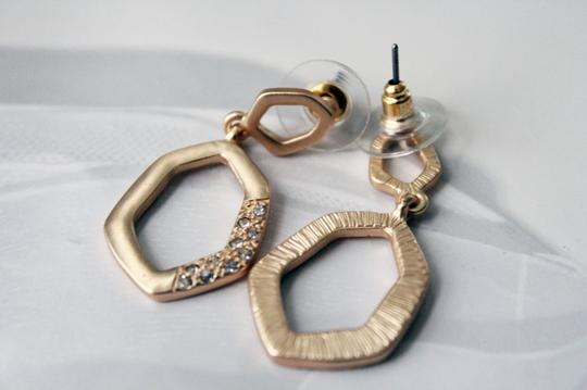 Colette Gold Tone Crystal Covered Angular Shaped Dangle Earrings
