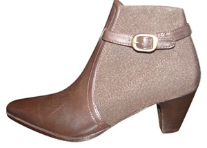 Prevata Leather Mesh Buckle Brown Boots