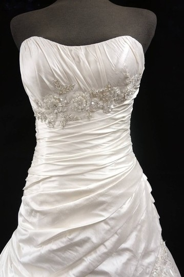 Martina Liana Ivory Silk Taffeta Gown with Ruched Bodice Floral Embroidery And Wedding Dress Size 8 (M)