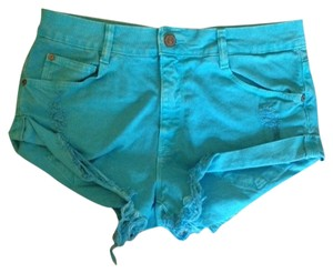 Zara Cut Off Shorts Turquoise