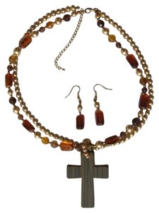 other SET NECKLACE AND EARRINGS CROSS PENDANT