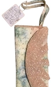 Free People Wristlet in Light Blue Camouflage With Taupe Beads