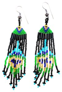 Multi Colored Czech Seed Beaded Dangle Earrings