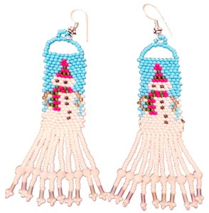 Handmade Czech Glass Seed Beaded Snowman Earrings