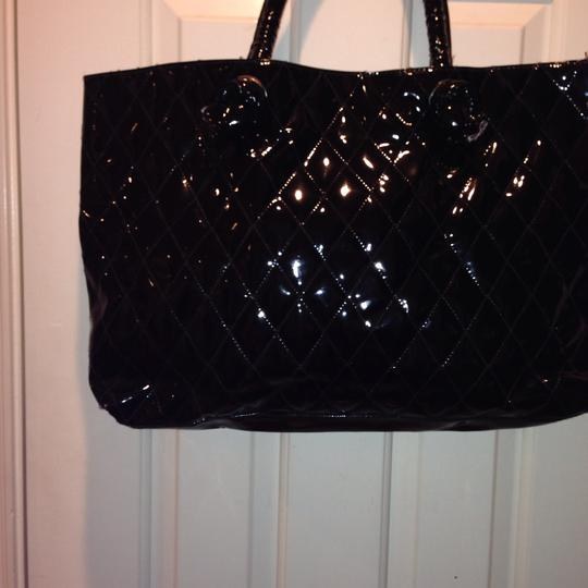 PARLUX PERFUME QUILTED FAUX PATENT LEATHER Tote in BLACK