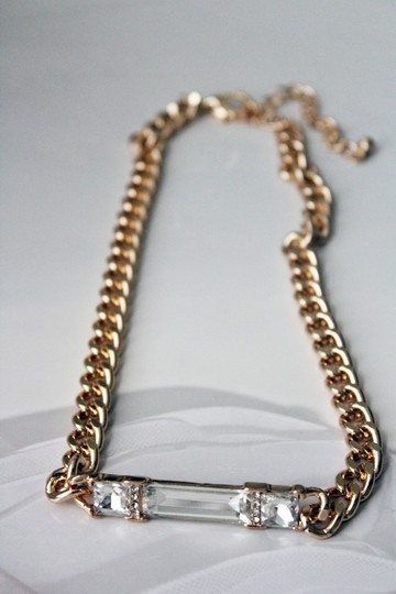 Other Gold Tone Chain Link Clear Crystal Pendant Chain Necklace