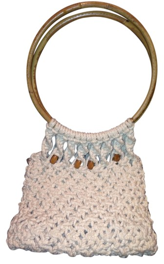 UNBRANDED VTG CROCHETTED WOOD STRAPS Tote in NATURAL TAN